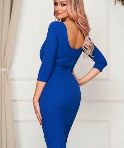 Rochie StarShinerS albastra eleganta midi tip creion din material elastic cu spatele decupat