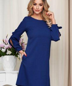 Rochie albastru-inchis office din stofa usor elastica cu croi larg cu maneci bufante crapate si cu fundita