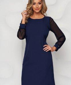 Rochie albastru-inchis din material elastic cu un croi drept cu maneci transparente