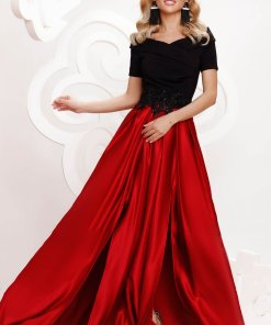 Rochie Artista rosie din satin de ocazie in clos crapata pe picior pe umeri accesorizata cu pietre stras