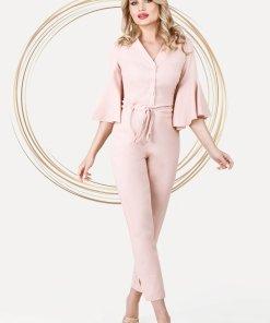 Salopeta PrettyGirl roz deschis eleganta din in cu buzunare si snur in talie