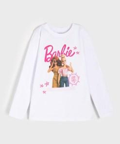 Sinsay - Tricou Barbie, cu mânecă lungă - Alb