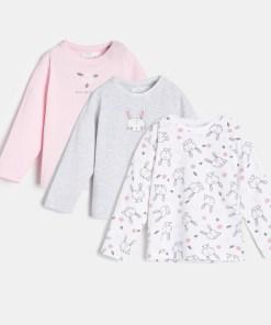 Sinsay - Set de 3 tricouri cu mânecă lungă, pentru bebeluși - Alb