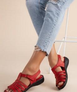 Sandale piele naturala Richelle Rosii