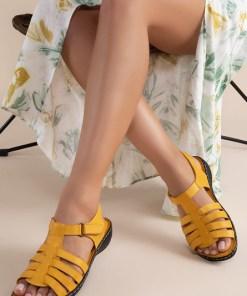 Sandale piele naturala Richelle Galbene
