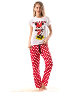 Pijama Dama MimiSleep Alb Rosu
