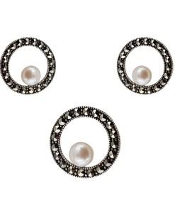 Set argint Monique cu marcasite si perle de cultura