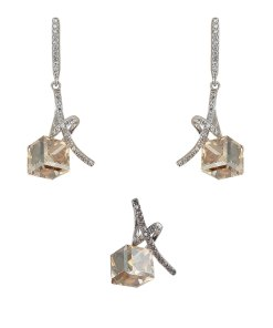 Set argint elegant brown crystal