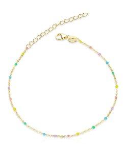 Bratara din argint Golden Colorful Beads