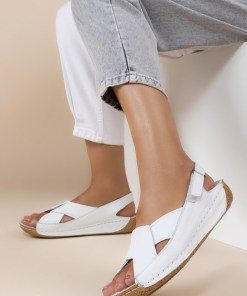Sandale piele naturala Otniela Albe