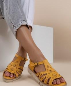 Sandale piele naturala Isadora Galbene