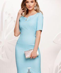 Rochie Fofy eleganta conica bleu cu buline si fundite discrete