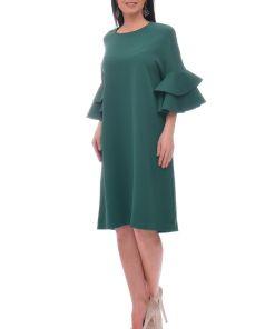 Rochie de zi dreapta vaporoasa de culoarea verde