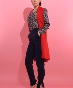 Vesta dama rosie cu buzunare laterale