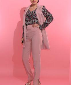 Vesta dama roz-prafuit cu buzunare laterale si nasture maxi