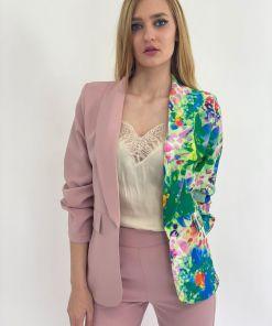 Sacou dama scurt din doua culori cu imprimeu floral colorat