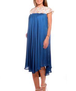 Rochie de ocazie vaporoasa cu croiala lejera de culoare albastra