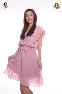 Rochie eleganta din voal roz pudra