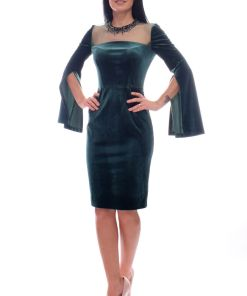 Rochie de ocazie Xara conica din catifea verde