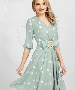 Rochie PrettyGirl eleganta midi in clos din triplu-voal mat cu cordon cu perle