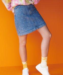 Reserved - Fustă mini din denim - Multicolor