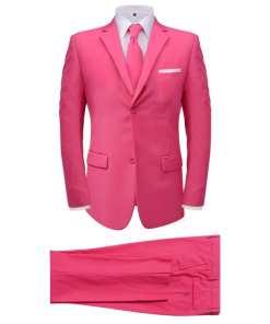 vidaXL Costum bărbătesc cu cravată, mărime 46, roz, 2 piese