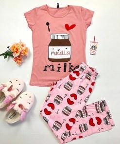 Pijama dama ieftina bumbac cu pantaloni lungi roz si tricou roz cu imprimeu NT