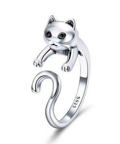 Inel din argint Long Tail Cat