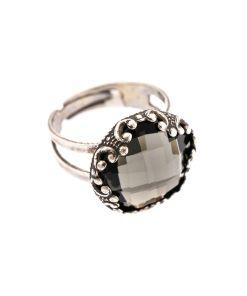 Inel placat cu Argint 925, cu cristale Swarovski, Black Diamond | 7220-215ASP