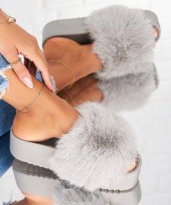 Papuci/Slapi Textil Gri Kate X4893