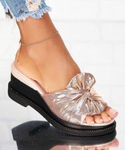 Papuci/Slapi Textil Roz Auriu Giselle X4934