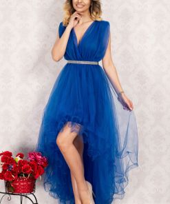 Rochie domnisoara de onoare asimetrica albastra din tulle By InPuff