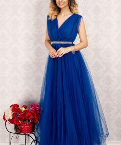 Rochie domnisoara de onoare lunga albastra din tulle By InPuff