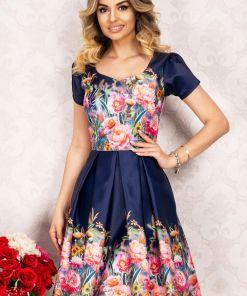 Rochie eleganta InPuff din tafta bleumarin in clos cu imprimeu floral