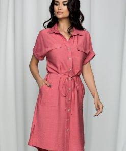 Rochie Leonard Collection tip camasa roz cu buzunare