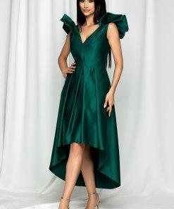 Rochie Moze verde satinata cu pliuri pe fusta