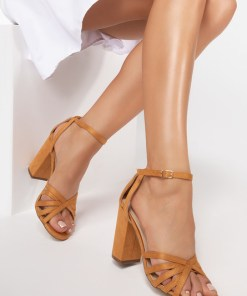 Sandale cu toc Mariska Camel