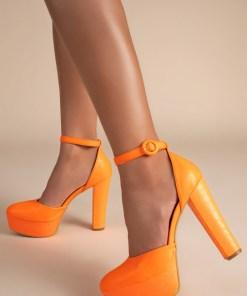 Pantofi cu toc Roxane Portocalii