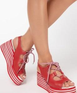 Sandale piele naturala Lucille Rosii