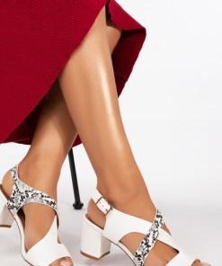 Sandale cu toc Mertens Albe