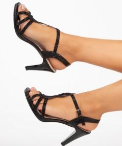 Sandale cu toc Mileda Negre