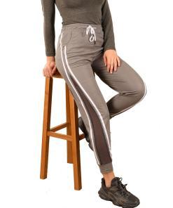 Pantaloni trening gri cu dungi si plasa - cod 42783