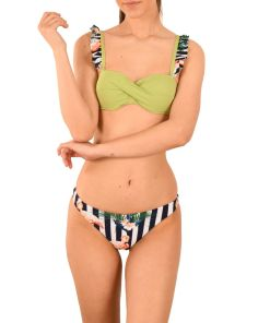 Costum de baie verde Flamingo doua piese - cod A5110V