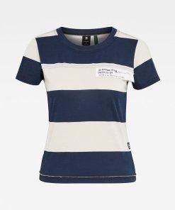 Tricou slim fit cu imprimeu cu model in dungi 3480736