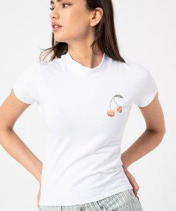 Tricou slim fit cu imprimeu discret pe piept 3880359