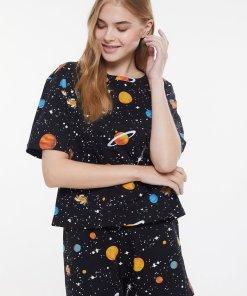 Pijama scurta cu imprimeu cosmic 3829896