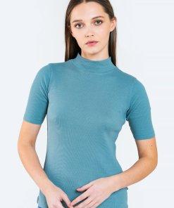 Tricou striat din jerseu cu guler mediu 3420525