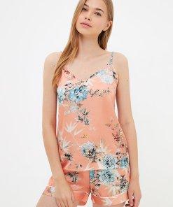 Pijama de satin cu imprimeu floral 3960347