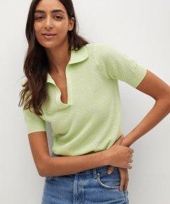 Tricou polo crop tricotat fin Circle 3587891