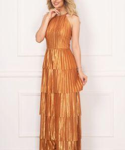 Rochie de seara Xara eleganta caramizie din saten plisat cu volanase
